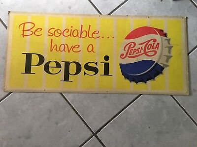 Pepsi be sociable cardboard sign approximately 650 x 300 1960's