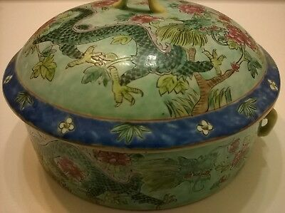 RARE ANTIQUE 18th C CHINESE QIANLONG PORCELAIN FAMILLE JAUNE DRAGON BIRD POT OLD