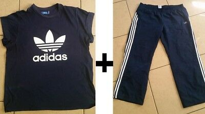 Adidas Wind Pants & T Shirt Set, Navy, Women's XL / XXL, Gym Pants, Fitness