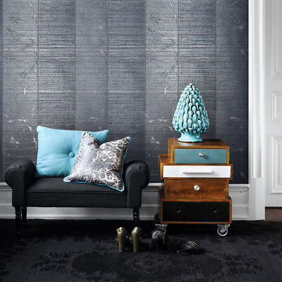 Embossed Wallpaper roll Gray Blue Metallic Textured Striped Modern Wall covering