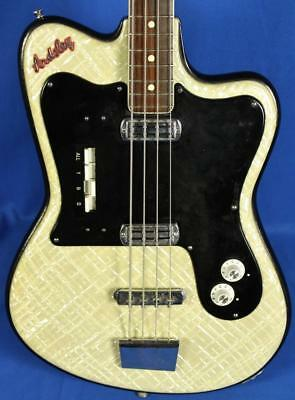Vintage 1960's Crucianelli Italy Ardsley Electric Bass Guitar w/OHSC Toaster Top