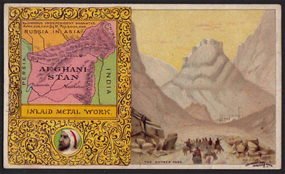 Arbuckle's Coffee Afghanistan Country Map VTG Trade Card #100 Khyber Pass Metal
