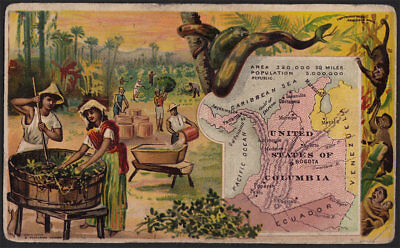 Arbuckle's Coffee United States Columbia Country Map VTG Trade Card #70 Coffee
