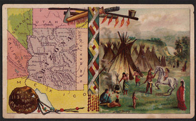 Arbuckle's Coffee Arizona State Territory Map VTG Trade Card 100 Native American