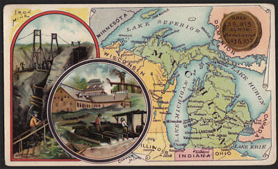 Arbuckle's Coffee Michigan State Territory Map VTG Trade Card #63 Copper Mining
