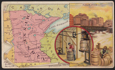 Arbuckle's Coffee Minnesota State Territory Map VTG Trade Card #65 Flour Mills