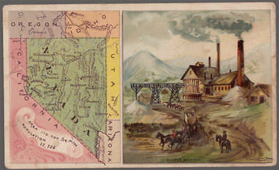 Arbuckle's Coffee Nevada State Territory Map VTG Trade Card #89 NV Silver Mining