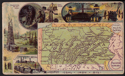 Arbuckle's Coffee Pennsylvania State Territory Map VTG Trade Card #54 Coal Mines