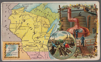 Arbuckle's Coffee Wisconsin State Territory Map VTG Trade Card #85 Beer Brewery
