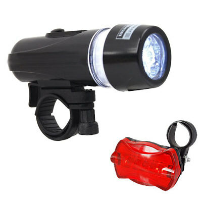 5 LED Waterproof Bike Bicycle Cycling MTB Front Rear Tail Light Set Super Bright