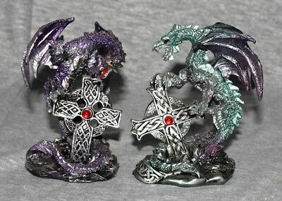 Dragons Statues Fantasy Mythical Gothic Magic Figure Decorative Ornament Set 2-A