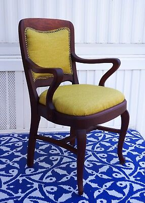 Early 1900s art deco courthouse mahogany chair (restored)