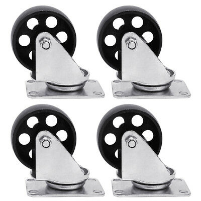 """4pcs Cast Iron Swivel Plate Caster 3"""" Heavy Duty Industrial 440Lb Rated Capacity"""