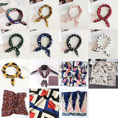 Women Ladies Vintage Silk Feel Satin Square Scarf Head Neck Hair Tie Band 50x50