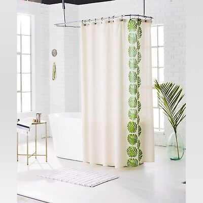 THRESHOLD GREEN PALM Leaf Natural Cotton Fabric Shower Curtain