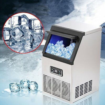 90Lbs Commercial Ice Cube Maker Auto Stainless Steel Bar Restaurant Machine 40KG