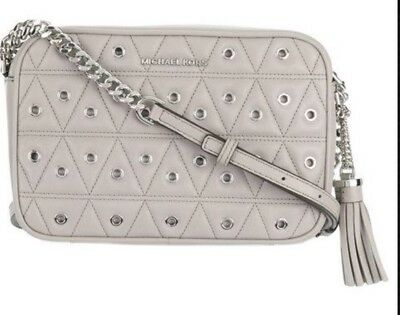 c1d8132cd08 New Michael Kors Ginny Medium Quilted Camera Bag Leather Pearl Cray Grommet