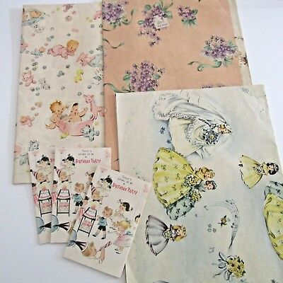 4 Sheets Vintage 1950s 'Forget me not' Gift Wrap Baby,wedding,3 Invites