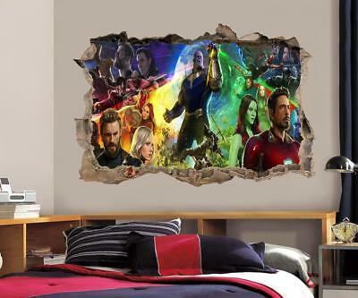 Super Heroes 3D Smashed Wall Sticker Decal Decor Art Mural Marvel Avengers J1056