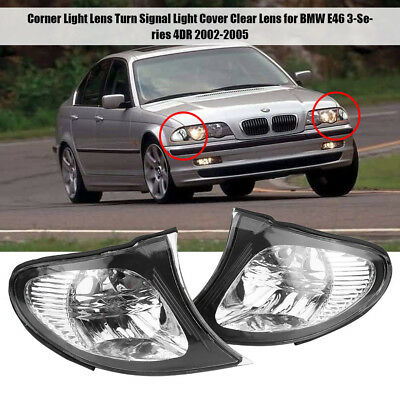 2x Left Right Corner Turn Signal Light Cover for BMW E46 3-Series 4DR 2002-05 DY