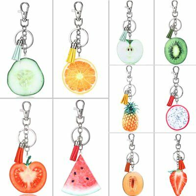 Tassel Fruit Watermelon Strawberry Tomato Keychain Pineapple Orange Keyring