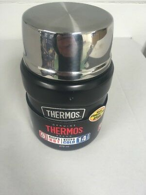 Thermos Stainless Steel King Black Food Soup Drinks Flask 0.47 Litre