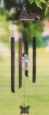 Hanging Wind Chimes Solar Led Light Powered Colour Changing Garden Dualway