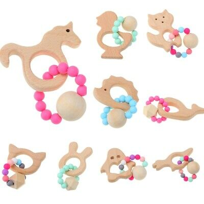 Wooden Baby Bracelet Animal Teething Toy Kid Wood Silicone Bead Baby Rattle Ring