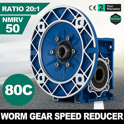 NMRV050 Worm Gear Ratio 20:1 80C Speed Reducer Gearbox Aluminum Top 1.14HP