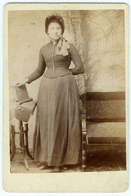 RARE VINTAGE FEMALE PHILANTHROPY: Salvation Army Woman Holding Book Cabinet Card