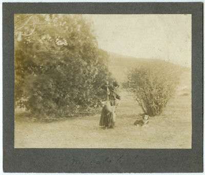 VINTAGE DOG WOMAN HUNTING CANINE: Female Hunter with Dog and Catch Cabinet Card