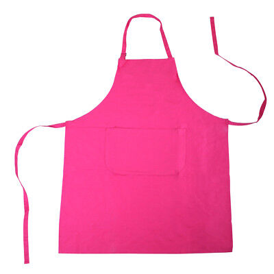 10 x Bright Pink 100% Cotton Apron's Kitchen Chef Apron with pocket - Brand New