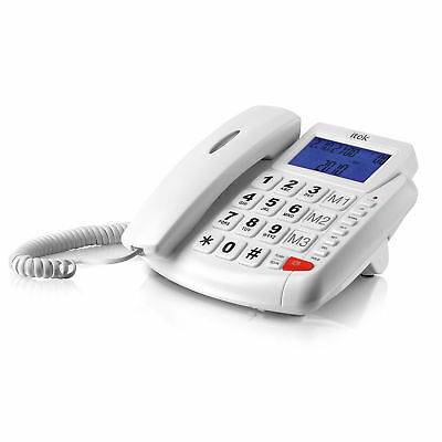 Itek White Big Button LCD Hands Free Telephone Corded Phone Caller ID Display