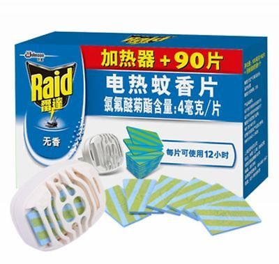 1set Raid Smell Free Electric mosquito repeller and 90pcs Mat Refill 12hrs/pcs