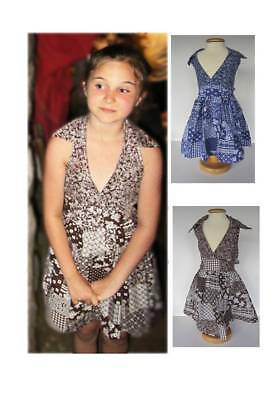 vintage 70's sun dresses girls age 5 and 8 patchwork brown blue cool cotton low