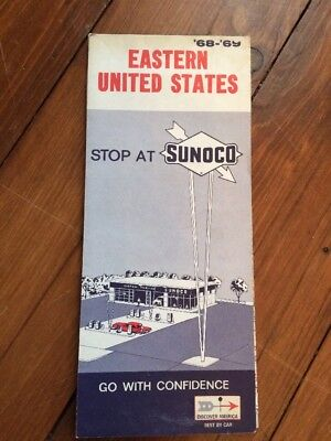 Vintage 1968-69 SUNOCO EASTERN UNITED STATES Gas Service Station Road Map