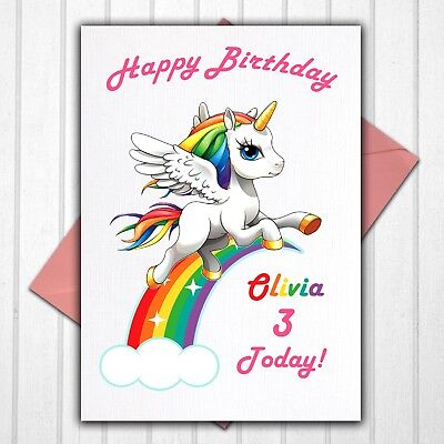 Unicorn Rainbow Personalised 1st 2nd 3rd 4th 5th 6th Birthday Card Any Name/Age