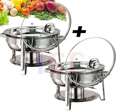 2X  Quality chafing Round Chaffing Dish Lid BUFFET DISH FOOD WARMER warm server