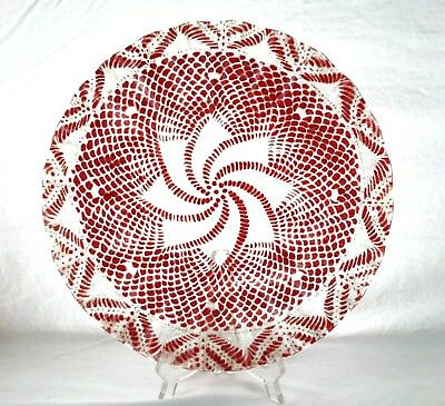 Sydenstricker Fused Art Glass Red Plate 11 1/4""