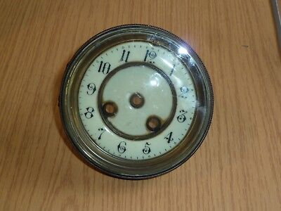 Dial & hinged glazed bezel from French drum clock c1900