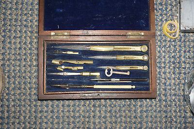 Drafting Antique Brass and bone set in wooden locking case