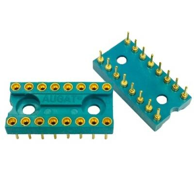 10 Pack of GREEN Round hole Gold 16pin Pitch 2.54mm DIP IC Socket AUGAT Adaptor