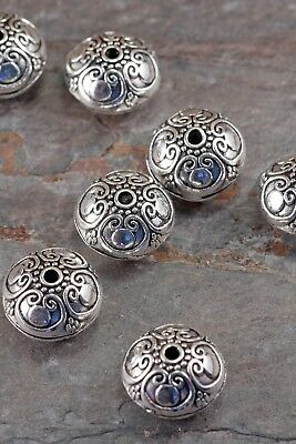 Lot of 4 Pieces Tibetan Style Antique Silver 16mm Scroll Accent Spacer Beads