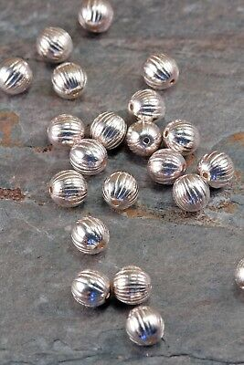 Lot of 10 Pieces Tibetan Style Antique Silver 7mm Ridged Round Spacer Beads US