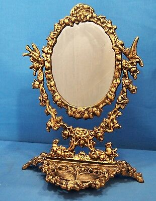 Ornate Vanity & Make-Up Mirror Cast Iron, Bronzed Finish
