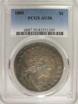 1800 Draped Bust Silver Dollar $1 Coin PCGS AU 50 Certified - JY422