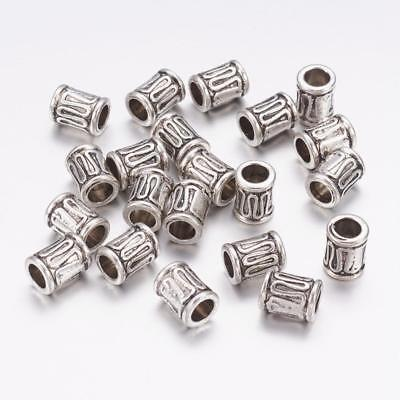 Lot of 10 Pieces Tibetan Style Antique Silver 8mm x 6mm Column Tube Spacer Beads