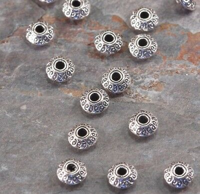 Lot of 10 Pieces Tibetan Style 7mm Antique Silver Tone Alloy Bicone Spacer Beads