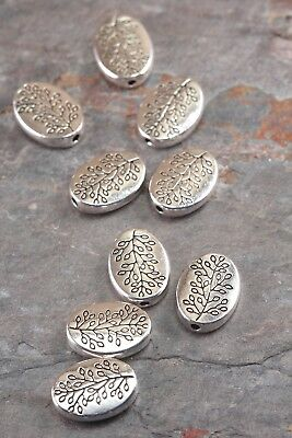 Lot of 10 Pcs 14mm Antique Silver Alloy Flat Oval w/ Leaves Branch Spacer Beads