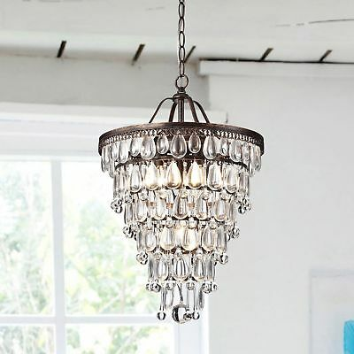 4 Light Antique Crystal Chandelier Light Fixture Brass Pendant Ceiling Hanging